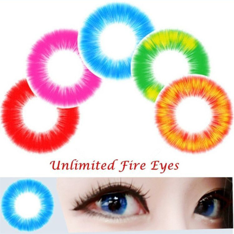 2Pcs/1Pair Unlimited Fire Eyes Colored Lenses Comfortable Cosmetic Wear Parties Eye Makeup Beauty Eyewear Makeup Set