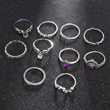 10 pz/set retrò cristallo trapano corona Knuckle anelli gioielli moda donna fascino anello Color argento