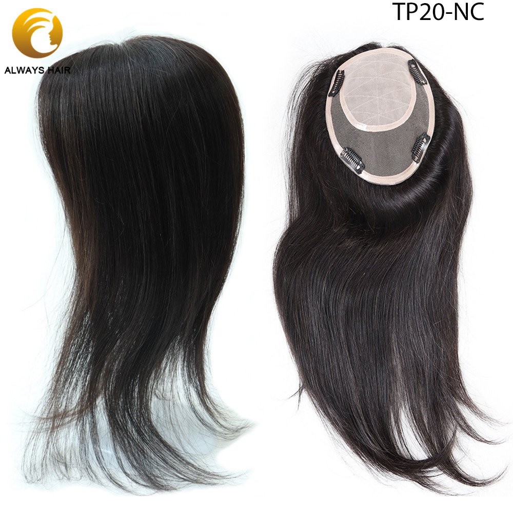 "TP20 16"" Human Hair Pieces 120% Density Silk Topper With Poly Coating Korean Virgin Human Hair Clip In Toppers"