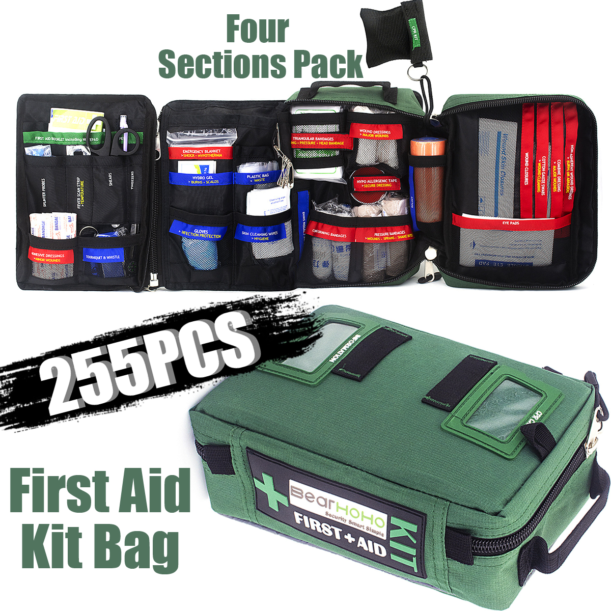 255Pcs Handy First Aid Kit Bag Lightweight Emergency Medical Rescue Bags For Home Outdoors Car Travel School Hiking Survival(China)
