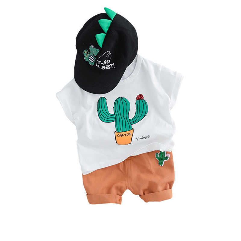 Summer Fashion Toddler Infant Clothing Sets Baby Girls Boy Clothes Suits Cactus T Shirt Shorts Kids Tracksuits Child Casual Wear