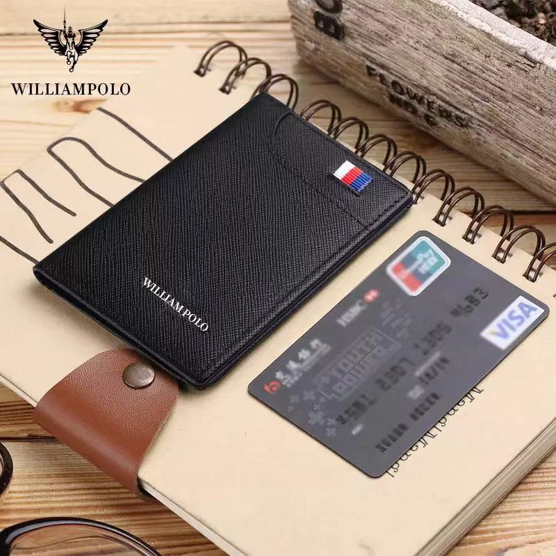 Genuine William Polo Leather Thin Mini Men's Wallet Luxury Brand Card Clip Leather Thin Wallet Men's Retro Short Wallet