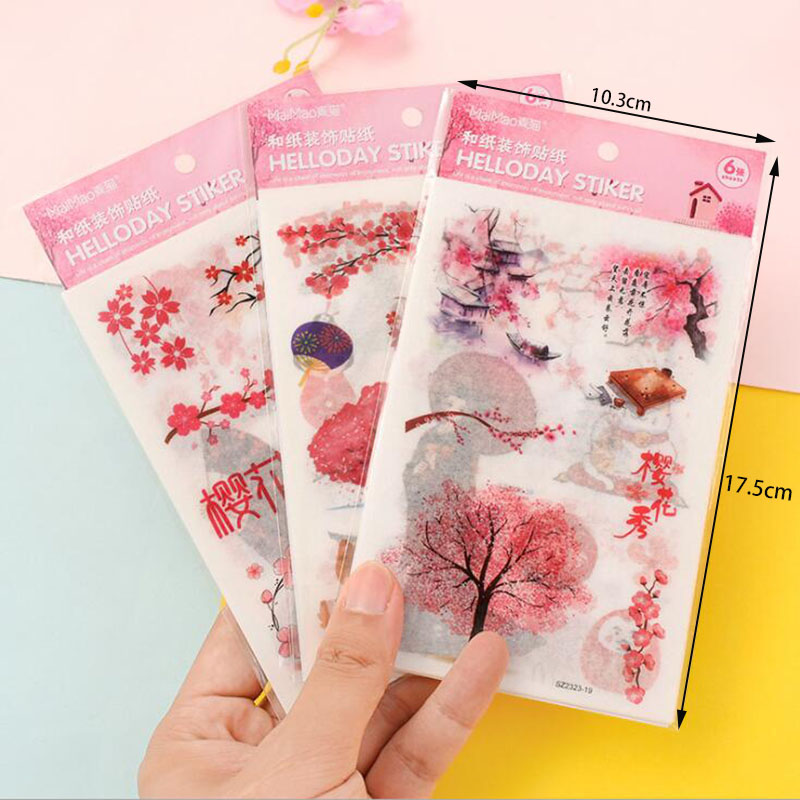 6 Pieces / Pack Japanese Style Cherry Blossom Pink Cute Girl Stickers DIY Decoration Diary Stationery Stickers Children Gifts