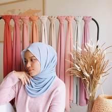 ウォメのスカーフマレーシアイスラム教徒hijabsは真珠シフォン無地無地アラブささやかなスカーフ長方形ロングショール 175x70cm