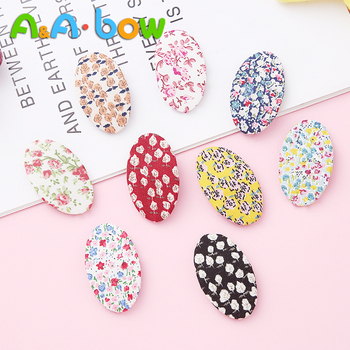 2pcs/lot Lovely Retro Floral Hairpins Oval Cotton Barrette for Girl Kids Children BB Hair Clip Color Baby Accessories