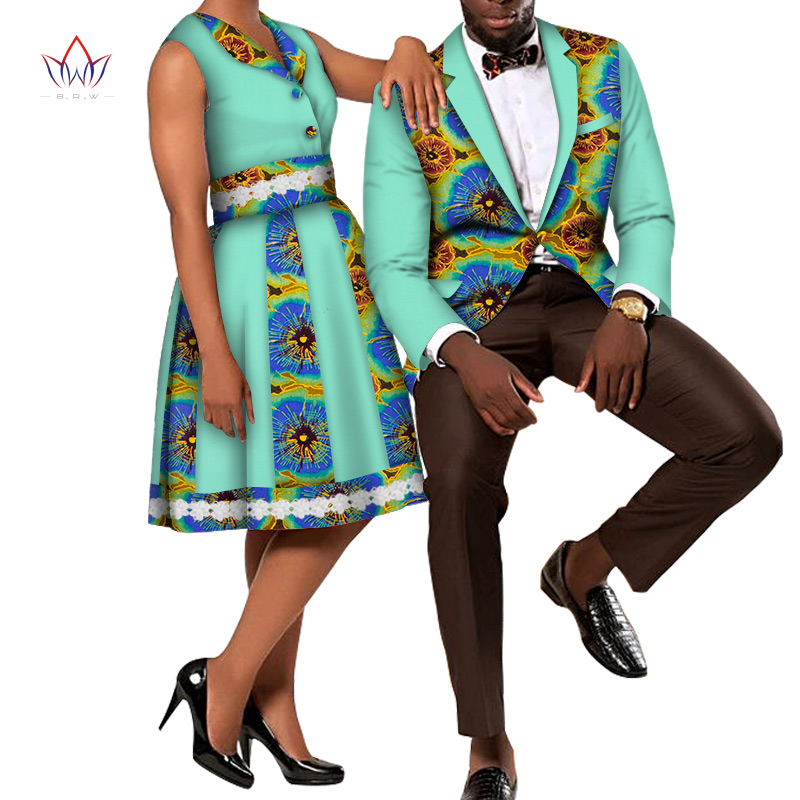 African Print Couple Clothes African Dresses for Women and Men Blazer Men's Suit & Lady Dress Couples Clothing Party Sets WYQ489
