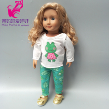 43cm doll clothes for new born Baby pants set green frog 18 inch spring