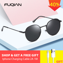 FUQIAN New Luxury Round Polarized Sunglasses Fashion Colors Metal Men and Women Sunglass Anti-glare Outdoor Glasses UV400