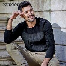 KUEGOU 2020 Autunno Rappezzatura del Cotone di Tela Pianura Nero Maglietta Degli Uomini della Maglietta di Marca T Shirt Tee Shirt Manica Lunga Più Il Formato magliette E Camicette 735