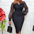 Frauen Sheer Langen Ärmeln Polka Dot Bodycon Kleid Büro Damen Dünnes Durchsichtig Frauen Vestido Afrikanischen Modest Feiern Gelegenheit