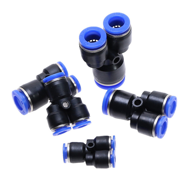 """""""Y"""" Pneumatic Connector Tee Union Push In Fitting for Air Pipe joint OD 4 6 8 10 12 14 16MM Pneumatic Fittings PY"""