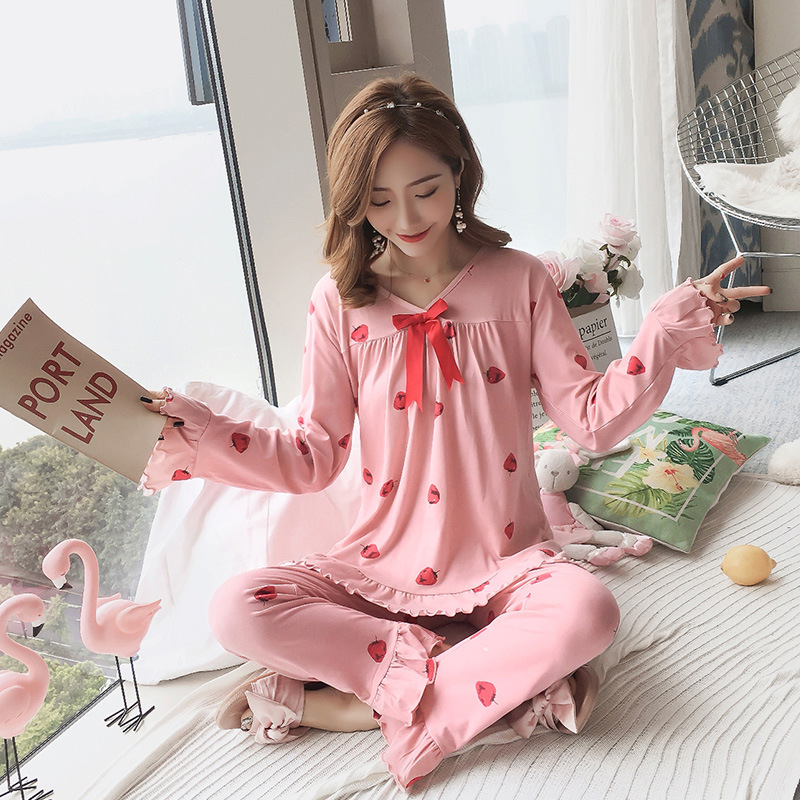 Autumn Women Cotton Pajamas Sets 2 Pcs Cartoon Printing Pijama Pyjamas Long Sleeve Bowknot Pyjama Sleepwear Sleep Set 43