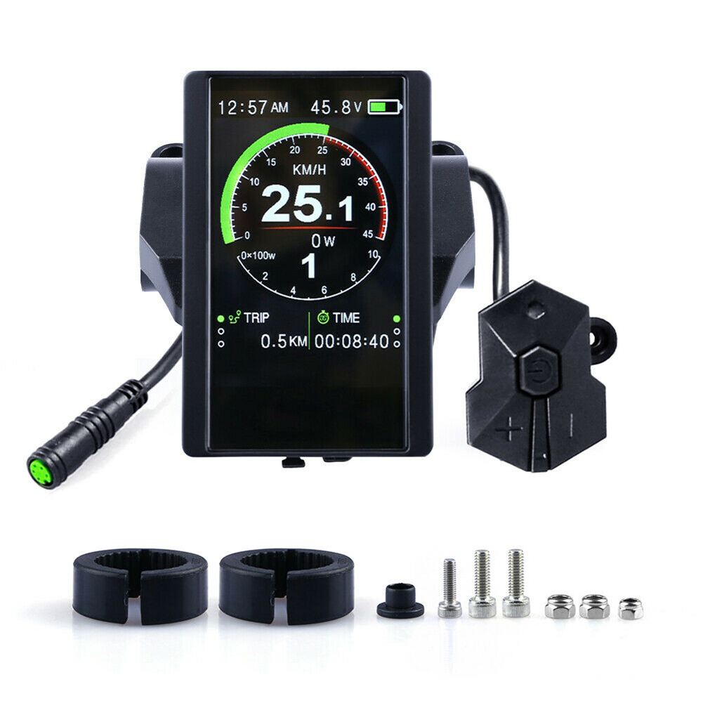 New Outdoor Cycling Electric Bicycle Date Easy Use Mid Drive Motor Time Waterproof Accessories USB Interface Speed Color Display