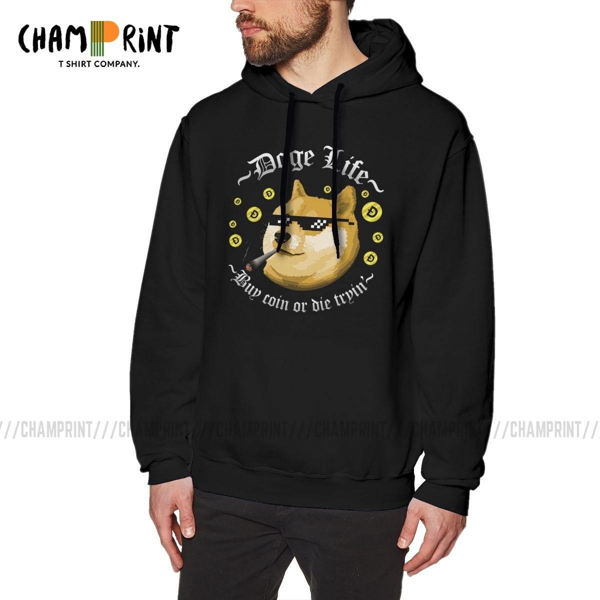 Vintage Style Hoodies Men's Doge Life Dogecoin Cotton Bitcoin Crypto Cryptocurrency Ethereum Btc Blockchain Hooded Sweatshirts 1