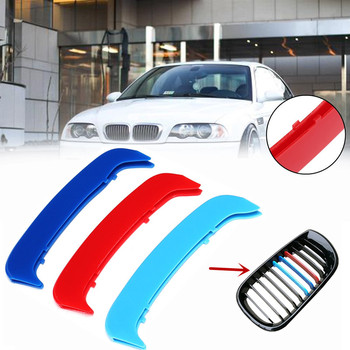 3D Sport M Style Color Grille Grill Cover Clip Trim For BMW E46 02-04 Sedan and Coupe Kidney Grille Bar Cover Stripe Clip Decal image