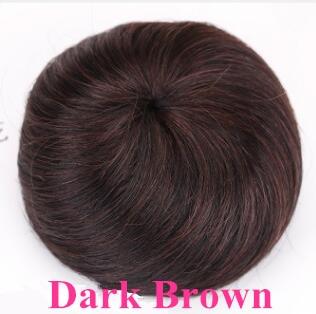 Шнурок шиньоны конский хвост наращивание волос булочка шиньон для создания прически бразильские человеческие волосы булочка пончик шиньоны волосы кусок парик не Реми - Цвет: Dark Brown STW