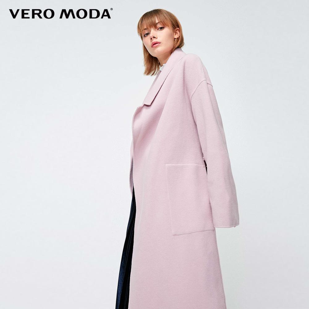 Vero Moda Women's New Ins Lapel Straps Pocket Minimalist Woollen Coat  | 318327531