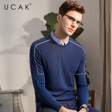 UCAK Brand Sweater Men Casual Shirt Collar Twinset Pull Homme Autumn Winter Knitted Wool Pullover Men Cotton Jersey Hombre U1015