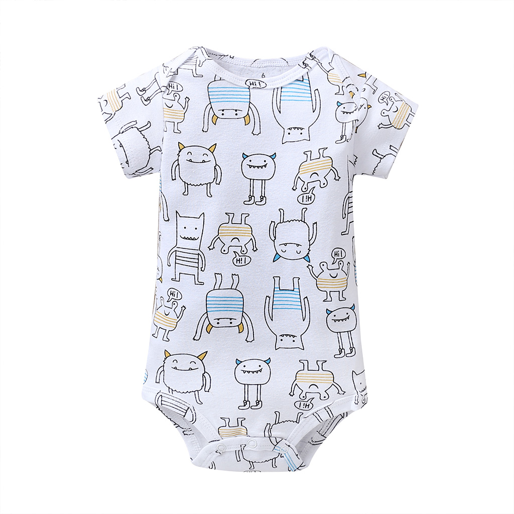 cartoon monster baby bodysuit newborn boy girl clothes new born short sleeve onesie cotton unsisex body