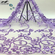 Madison Latest african lace fabric high quality sequins+beads fabric embroidery nigerian wedding for african lace fabric(China)