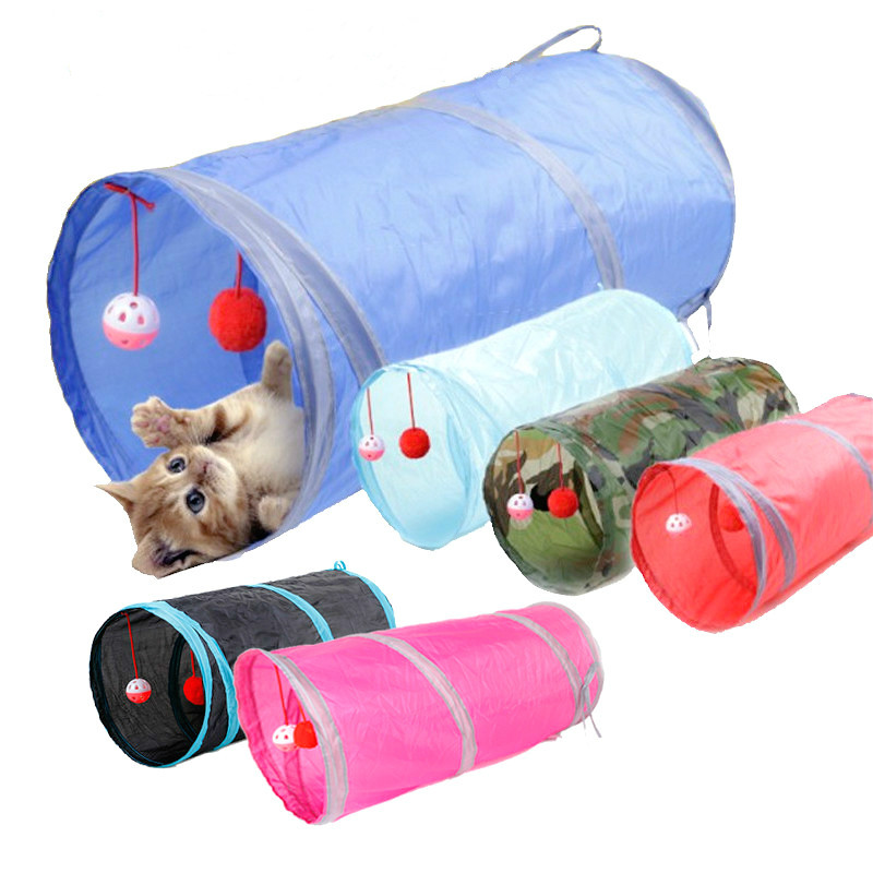 7 Color Funny Pet Cat Tunnel Ring Paper 2 Holes Play Tubes Balls Collapsible Crinkle Kitten Toys Rabbit Play Dog Tunnel Tubes image