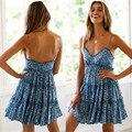 2021 Summer Cotton V-neck Sling Print Seaside Vacation Women Beach Short Skirt Dress
