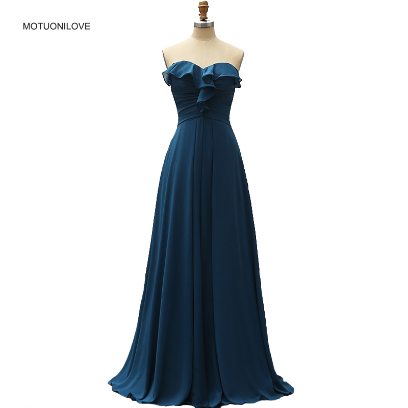 Teal Bridesmaid Dresses Sweetheart Ruffles Chiffon A Line Floor length Country Beach Wedding Party Guest Cheap Long Prom Dresses