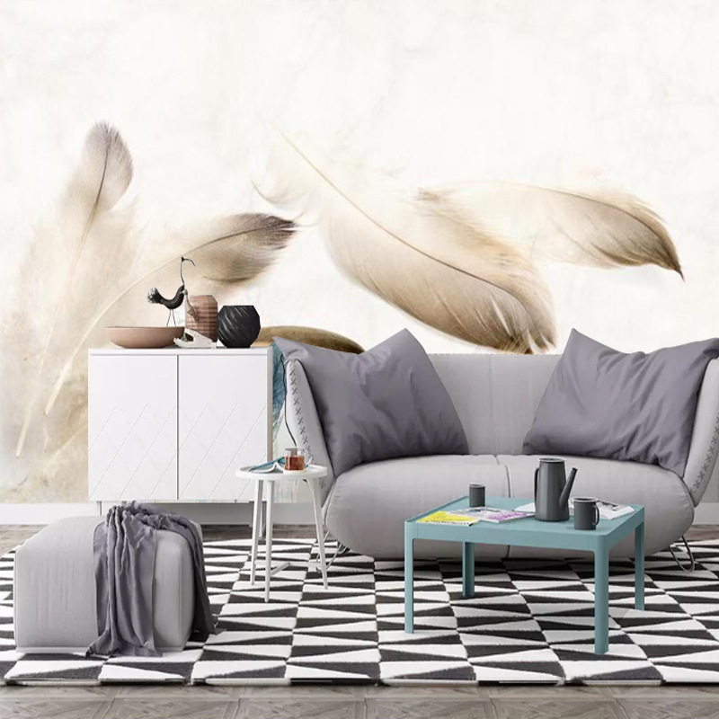 8d Style Minimalist Modern Hand-Painted Cool Feather Living Room Bedroom Art Mural TV Background Wallpaper Wall Cloth