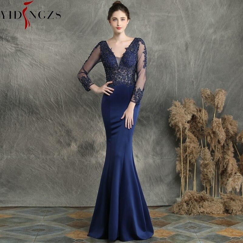 YIDINGZS See Through Long Sleeve Evening Dress Navy Blue V-neck Appliques Beaded Elegant Evening Party Dress YD16357