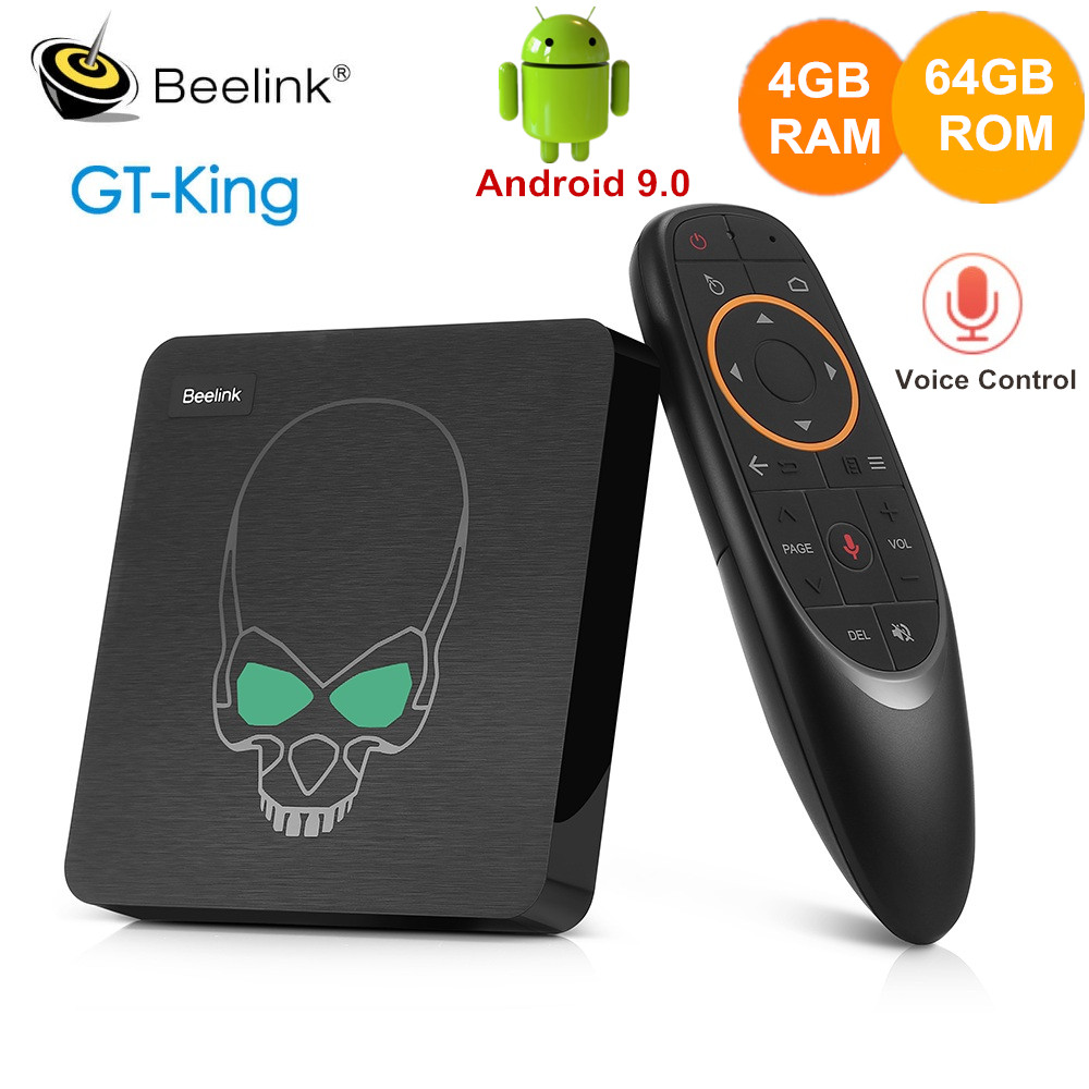 Beelink GT-König TV Box Android 9,0 Amlogic S922X 4GB DDR4 64GB ROM Stimme Fernbedienung 2,4G + 5,8G WiFi 1000Mbps 4K Set Top Box