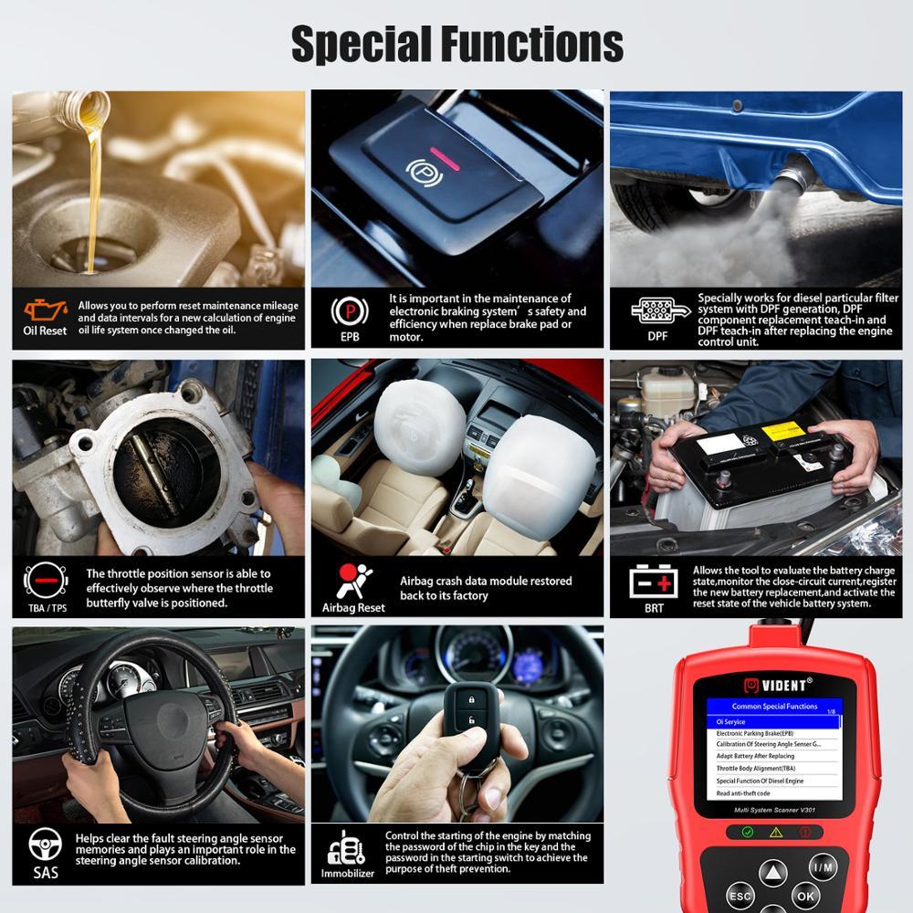 Vident für V-A-G V301 Volle System OBD2 Scanner für V-W /Audi /Skoda /Seat Auto Diagnose Werkzeug mit SAS EPB DPF Öl Batterie Reset
