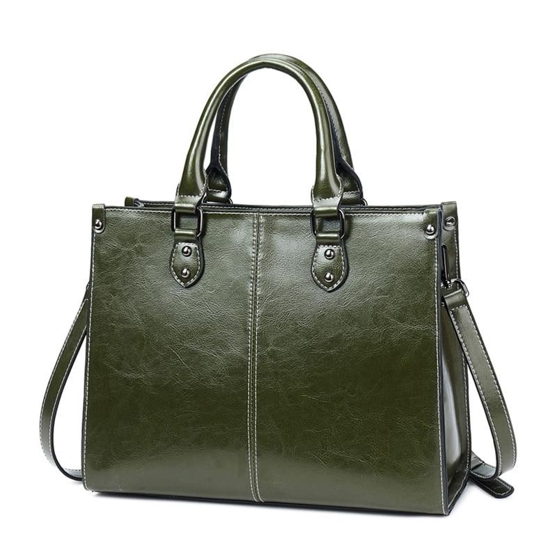 Vintage Tote Handbags Women\'S Genuine Leather Bag Ladies Purse Shoulder Bags For Women 2020 Female Hand Bag Coffee Brown Black