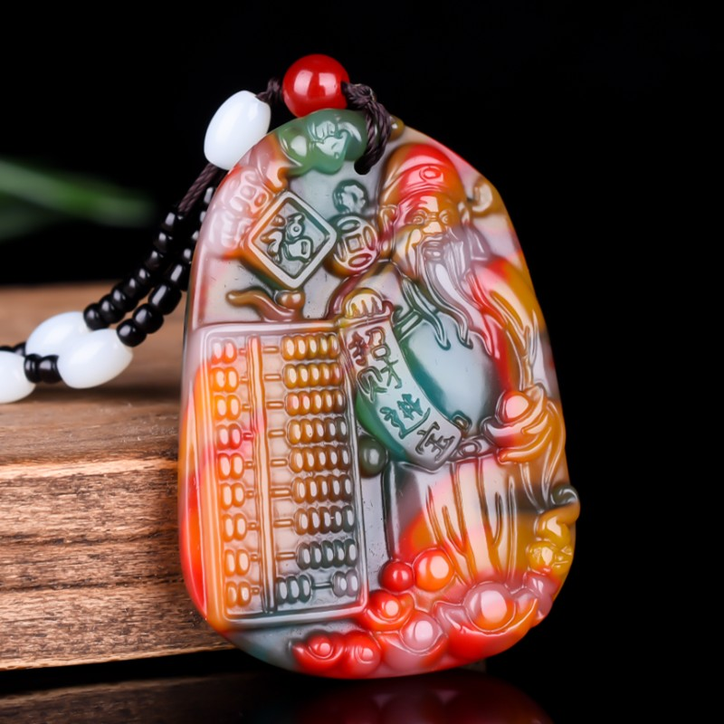Chinese Colorful Jade Mammon Pendant Necklace Jewellery Fashion Hand-Carved Relax Healing Man Women Luck Gifts Amulet Free Rope