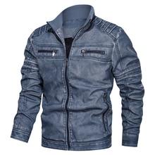 Yeni sonbahar kış pilot PU bombacı deri ceket erkekler yeni eğlence sıcak askeri uçuş faux ceket motosiklet erkek ceket artı boyutu