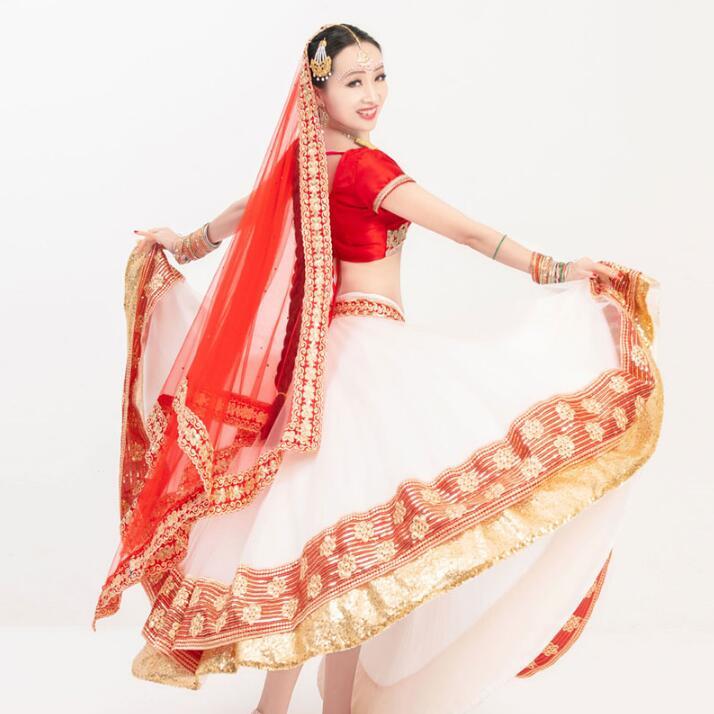 New India Pakistan High Grade Cotton Sarees For Woman Girl India Lehenga Choli Dance Performance Dress Woman Top+Skirt+Scarf
