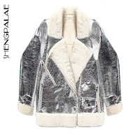 SHENGPALAE 2019 New Winter Autumn Jackets Turn down Collar Long Sleeve Patchwork Silver Korean Fashion Loose Women Coat FL620
