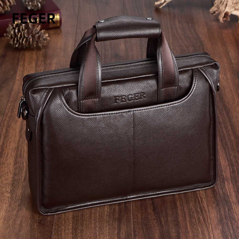 Men Bag Men's Leather Bag Laptop Briefcase Bag Brand Bags Shoulder Strap Bag For Documents With Shoulder Starp Brown And Black