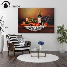 Allenjoy pinturas al óleo Vintage libros de vidrio de vino mesas arte carteles de pared elegante cocina comedor decoración cuadros