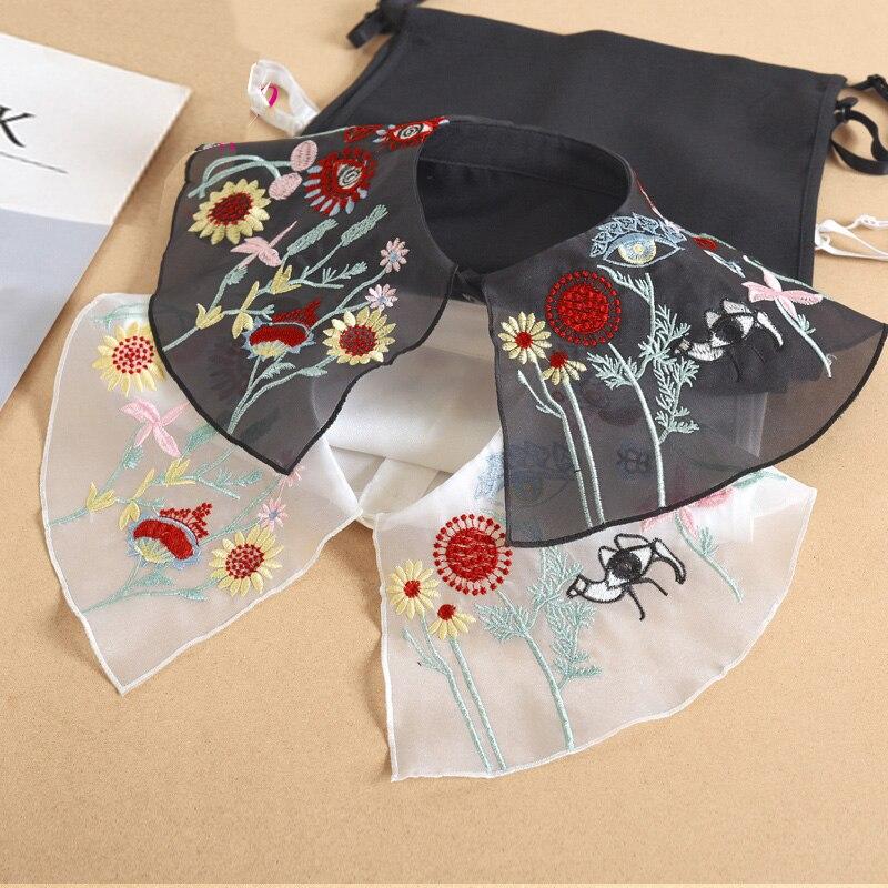 Big Lapel Fake Collar Shirt White Embroider False Collar Women Kraagie Nep Ladies Detachable Collar Chiffon Neckwear Accessories