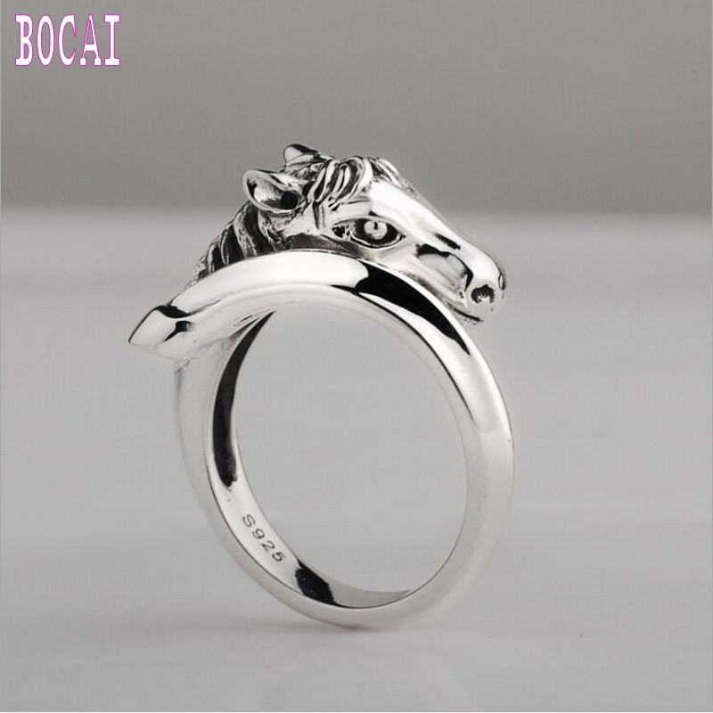 S925 bijoux en argent mode nouvelle bague en argent pour les femmes simple tête de cheval anneau pour hommes personnalité homme bague en argent bague femme