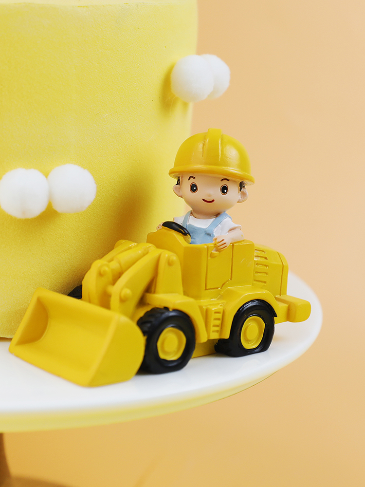 Topfunyy Construction Vehicle Happy Birthday Banner and 12 Pcs Excavator bulldozers Cake Topper for Boys Construction Themed Party Kids Birthday Party Decoration