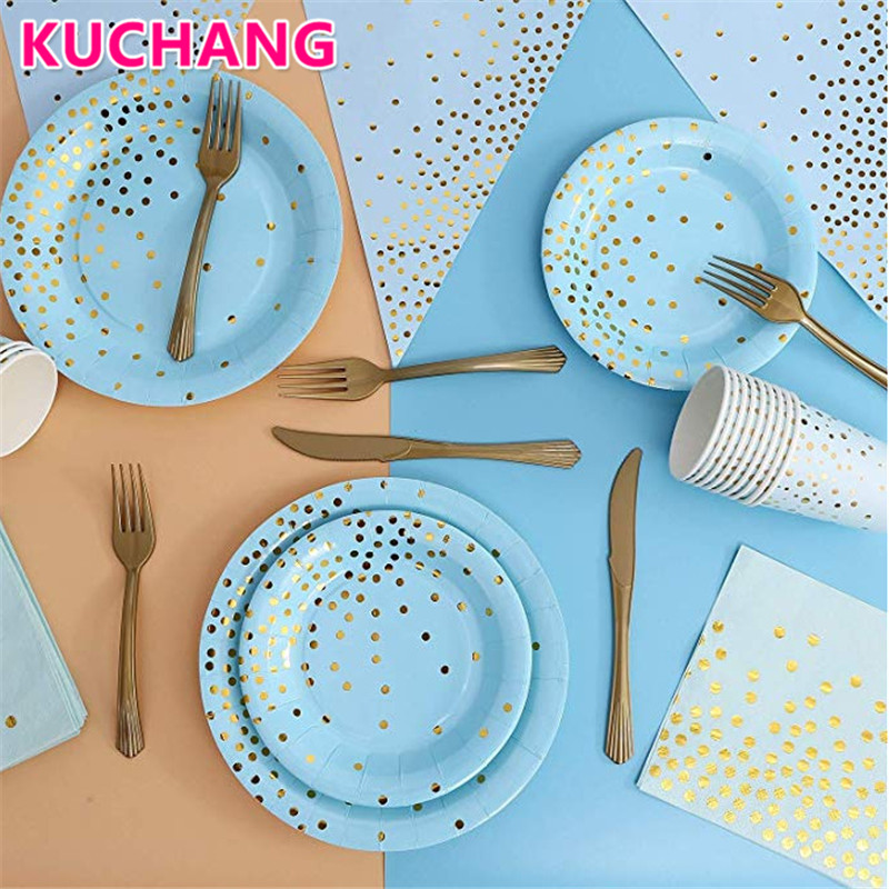 10pcs Pink Blue Bronzing Dot Disposable Tableware Set Cup Plate Paper Towel Birthday Party Supplies Baby Shower Wedding Decor