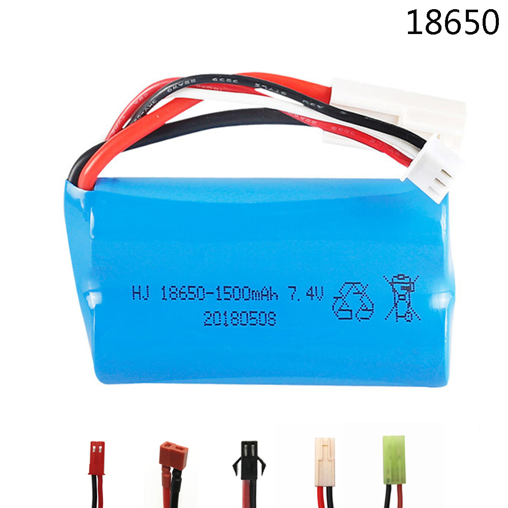 7.4V 1500mAh 18650 Lipo Battery For Udi U12A Syma S033g Q1 H100 H101 H102 H103 FT009 Rc Boats Model Aircraft EL-2P/SM/JST/T Plug