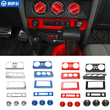 MOPAI Car Central Navigation Air Condition Decoration Kit Cover Stickers Accessories for Jeep Wrangler JK 2007 2008 2009 2010