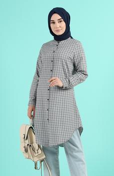 Minahill Khaki tunika moda muzułmańska islamska odzież skromne topy arabska odzież długa tunika dla kobiet 2518-01 tanie i dobre opinie TR (pochodzenie) tops Aplikacje Bluzki i koszule Octan Dla dorosłych