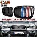 MagicKit пара для 2007-2013 для BMW X5 X6 E70 E71 Автомобильная Решетка переднего бампера двойная линия гриль почек глянцевая черная M-color