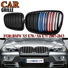 MagicKit A Pair For 2007-2013 For BMW X5 X6 E70 E71 Car Front Bumper Grille Double Line Grill Kidney Glossy Black M-Color 3d carpet boratex brtx 2110 for bmw x5 x6 black e 70 71