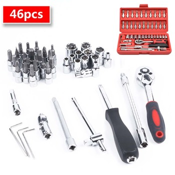 цена на 46pcs 1/4-Inch CRV Socket Set Car Repair Tool Ratchet Set Torque Wrench Combination Tool Kit Wrench Screwdriver Socket