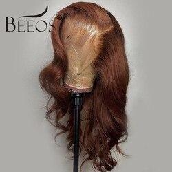 Blonde Braun Farbige 13*6 Transparent Spitze Front Menschliches Haar Perücken Brasilianische Körper Welle Spitze vorne Perücke Remy Haar blached Knoten