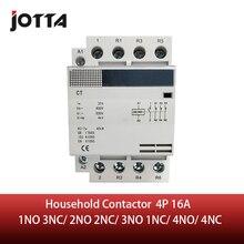 Contact ac domestique pour rail din 4P 16a 220/230V 50/60HZ, 1NO 3NC/2NO 2NC/3NO 1NC/4NO/4NC